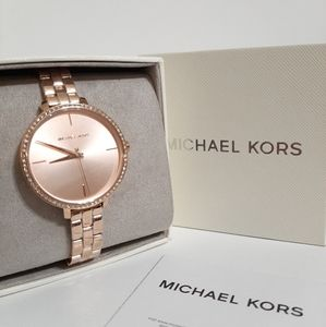 NWT MK Rose Gold-Tone Stainless Steel Watch